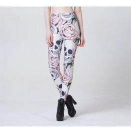 Womens Skulls Roses Printed Leggings