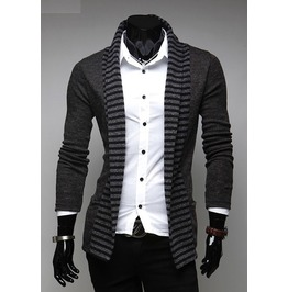 Mens Black/Gray Casual Long Cardigans