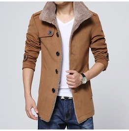 Mens 3 Colors Wool Trench Jacket