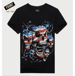 Mens American Multi Skull Printed Short Sleeve Black T Shirt