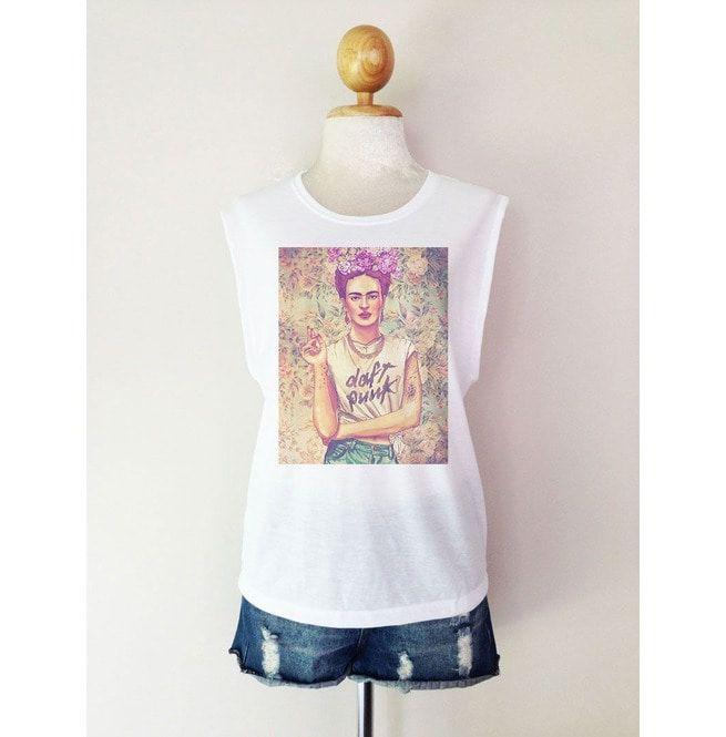9af027e67ab Frida Kahlo Daft Punk T Shirt Muscle Tees Tunic Tank | RebelsMarket