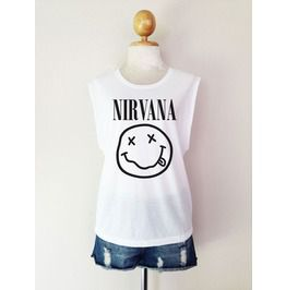 Nirvana Band Smile T Shirt Muscle Tees Tunic Tank Top Women Size M,L