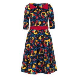Voodoo Vixen Women's Prairie Senorita Cats Fans Retro Dress