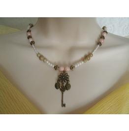 Flower Key Necklace, Steampunk Rockabilly Goth