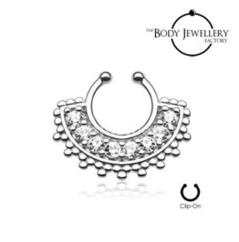 Septum Clicker Hanger Non Piercing Bar Large Paved Gem Fan