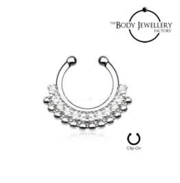 Septum Clicker Hanger Non Piercing Bar Paved Gem Fan