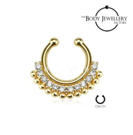 Septum Clicker Hanger Non Piercing Bar Gold Plated Paved Gem Fan