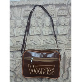 Vans Shoulder Messenger Bag Dark Brown Leatherette Cross Body Hobo Tote