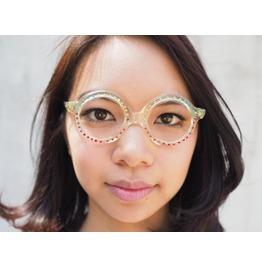 Vintage Eyeglass Round Made France Colored Gems 1970's Oldstock