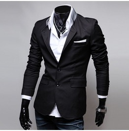 Corporate Goth Style Men's Black Blazer 11608528 Eed