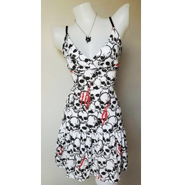 Dress Women Rock Skull White Rockabilly Pinup Retro Punk Concert Lady Blood