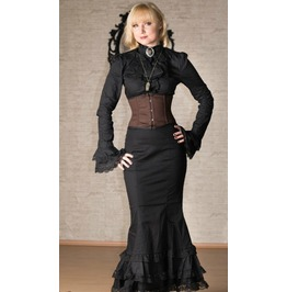 Black Victorian Gothic Fishtail Long Full Length Skirt Lace Trim