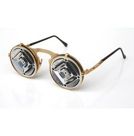 Hi Tek Gold Round Metal Flip Sunglasses Industrial Blinders