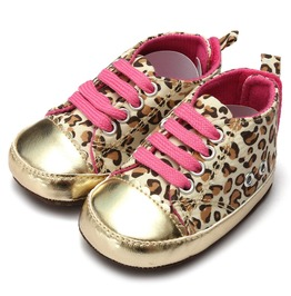 Cool Black + Gold Leopard Trainer Look Design Pink Laces 12 18 Months