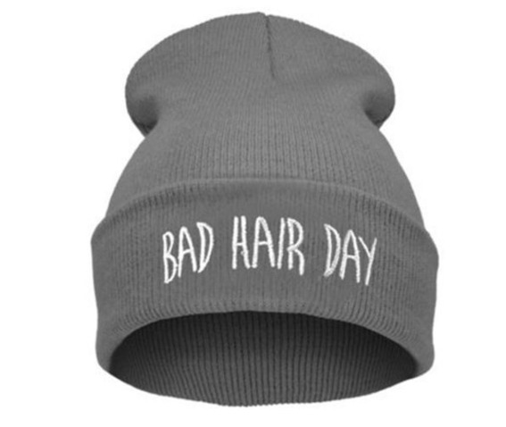 awesome_grey_bad_hair_day_beanie_hat_white_embroidered_lettering_hats_and_caps_2.JPG