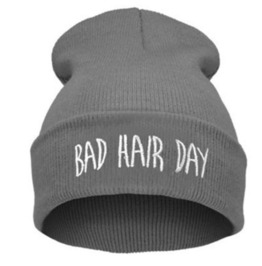 Awesome Grey Bad Hair Day Beanie Hat White Embroidered Lettering