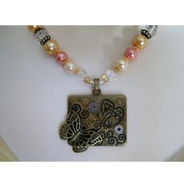 Gear Butterfly Necklace, Steampunk Rockabilly Goth