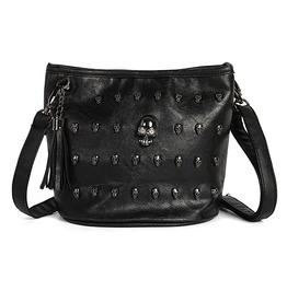 Skull Face Studs Punk Rivet Pu Leather Goth Shoulder Bag Messenger Bag