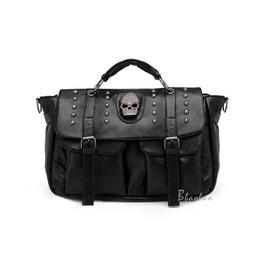 Faux Leather Punk Black Skull Handbag