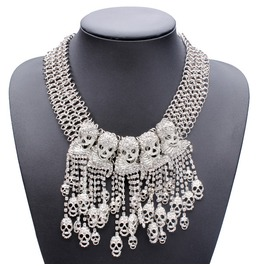 Womens Silver Crystal Rhinestone Skull Statement Necklace