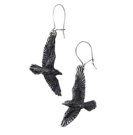 Black Raven Gothic Earrings Alchemy Gothic