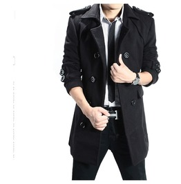 Mens Black/Gray Color Double Beasted Trench Jacket