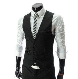 Mens Fitted Suit Casual Black/Grey/White/Red Vest Jacket