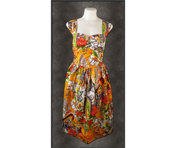 Exclusive Sugar Skull Fiesta Hasta La Muerte Pinup Rockabilly Summer Dress.jpg