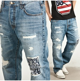 Distressed Paisley Patchwork Denim Semi Baggy Jeans 144