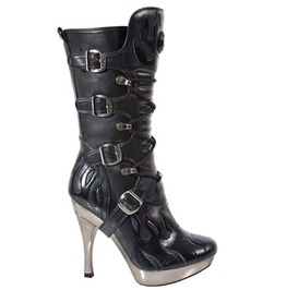 Black Leather Boots Flames, Metallic Heels