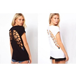 Womens Black/White Colors Angel Wing Backless Short Sleeve T Shirt Top Tees