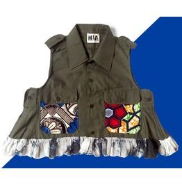 Fashion Mia Women's Army Style Cropped Shirt