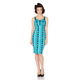 Voodoo Vixen Aurelia Geometric Turquoise Argyle Wiggle Dress