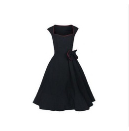 Black And Red Short Sleeve Long Retro Dress