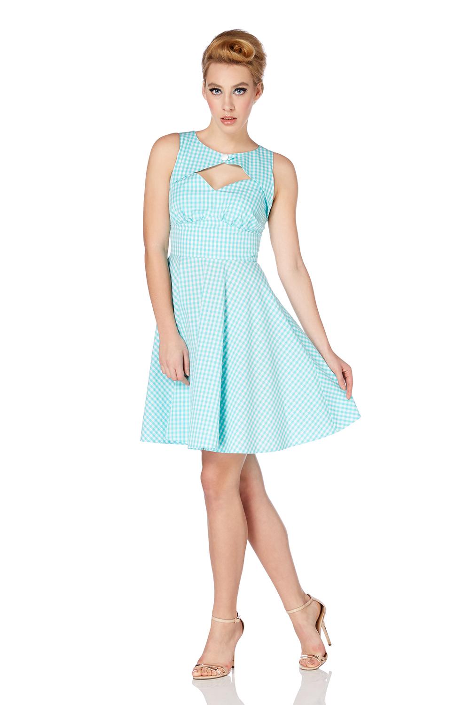 Voodoo Vixen Gracey Peekaboo Gingham Cotton Fifties Dress 88063