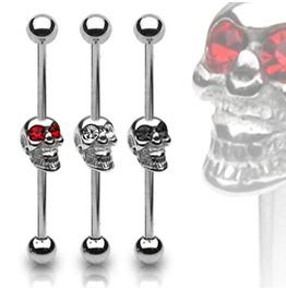 Industrial Barbell Skull W/Gemmed Eyes
