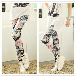 Rosed Leather Stitching Printing Legging