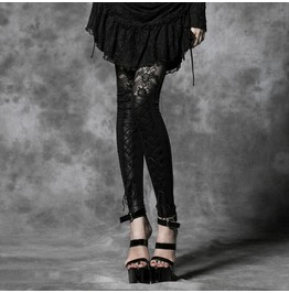 Lace Faux Leather Black Leggings