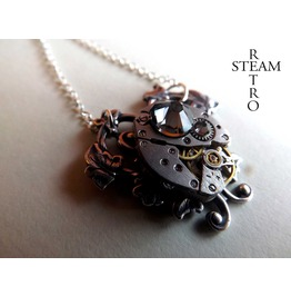 Grey Heart Steampunk Necklace Steampunk Jewelry Heart Necklace Steamp