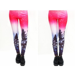 Pinkish Aurora Skies Leggings