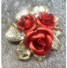 16701341a Red Rose Crystal Rhinestone Breast Pin Brooch Vintage Bride Wedding Jewelry