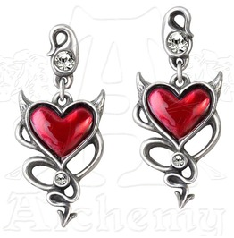 Devil Heart Studs Gothic Earrings Alchemy Gothic
