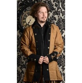 Brown Black Steampunk Pirate Jacket Velvet Lapels $9 To Ship Worldwide
