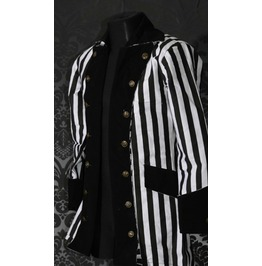 Mens Beetlejuice Black White Striped Coat Victorian Goth Pirate Jacket