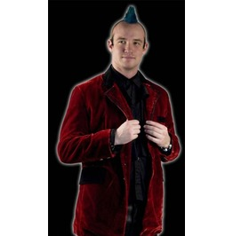 Mens Black Red Victorian Vampire Velvet Smoking Jacket $9 To Ship Worldwide