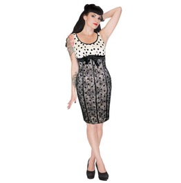 Voodoo Vixen Rockabilly Tori Spot Lace Hourglass Wiggle Dress