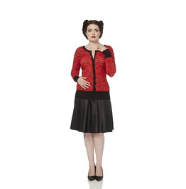 Voodoo Vixen Sydney Red Retro Spectacles Rockabilly Cardigan