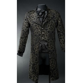 Mens Black Jacquard Tailcoat Victorian Gothic Jacket $6 Cheap Shipping