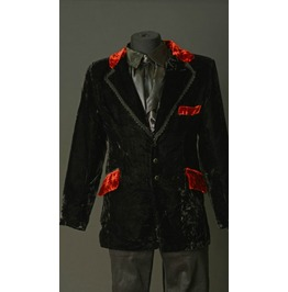 Black Velvet Red Trim Victorian Smoking Jacket $9 To Ship Worldwide