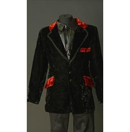 Black Velvet Red Trim Goth Victorian Gentleman Smoking Jacket